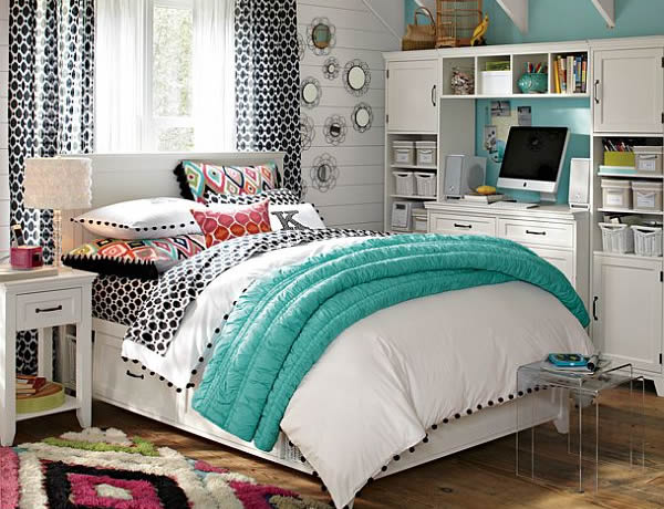 Teal White and Simplicity Empowering a Young Girl Bedroom