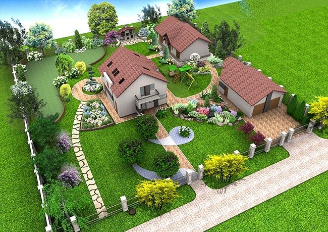 ппланирока дома с гаражом и хоз постройками