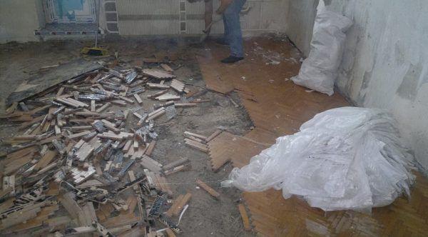 Демонтаж старого паркетного пола